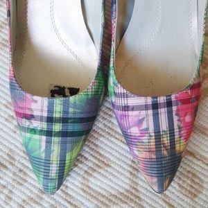 Tahari Shoes - Tahari | floral plaid charter scalloped pump heels